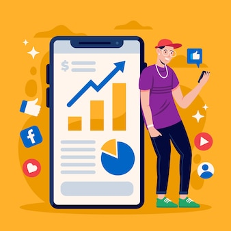 Marketing des médias sociaux sur la conception du téléphone