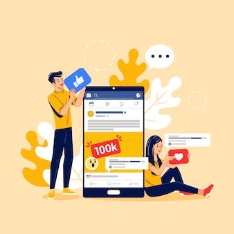 Marketing des médias sociaux sur la conception mobile