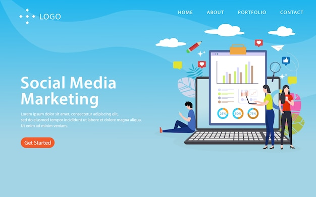 Marketing de médias sociaux, modèle de site web, en couches, facile à modifier et à personnaliser, concept d'illustration
