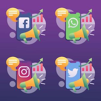 Marketing des médias sociaux de plus en plus icon set