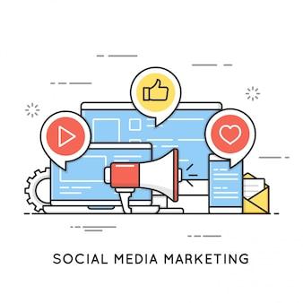 Marketing des médias sociaux, smm, communication réseau, internet adv