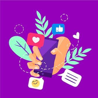 Marketing des médias sociaux sur le thème mobile