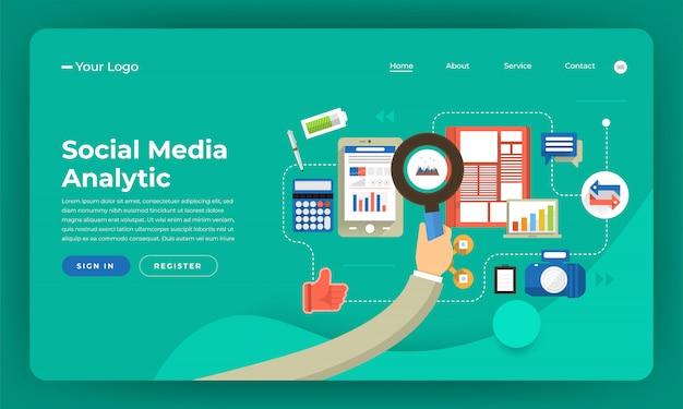Marketing numérique de concept de site web. analyse des médias sociaux. illustration.
