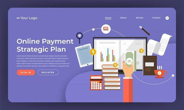 Marketing numérique de concept de site web. plan de paiement en ligne. illustration.