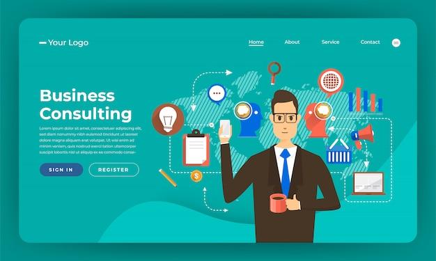 Marketing numérique de concept de site web. solution de conseil aux entreprises. illustration.