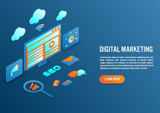Marketing numérique en design isométrique