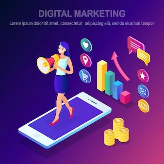 Le marketing numérique. femme isométrique avec mégaphone, haut-parleur, mégaphone, téléphone mobile, smartphone avec de l'argent, graphique.