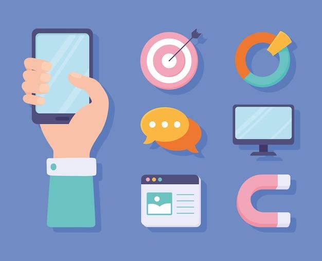 Marketing numérique d'icônes