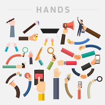 Marketing numérique illustrations mains