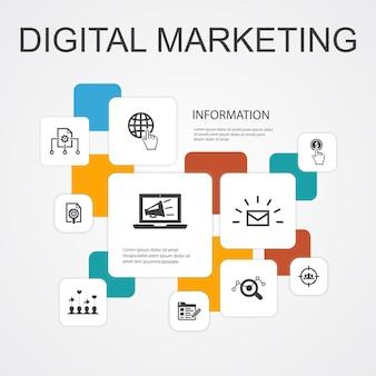 Marketing numérique infographie 10 icônes de ligne template.internet, recherche marketing, campagne sociale, icônes simples de paiement par clic