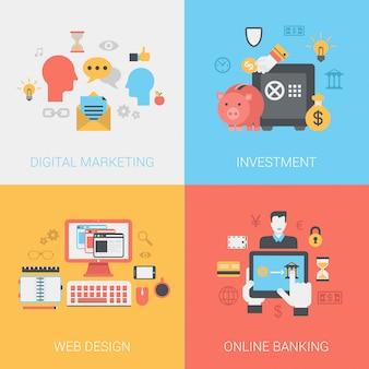 Marketing numérique, investissements, conception de sites web, jeu d'icônes de services bancaires en ligne.