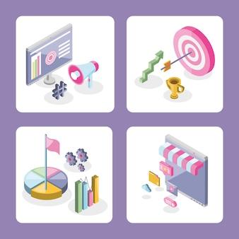 Marketing numérique isométrique