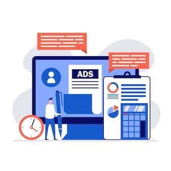 Marketing numérique, optimisation du référencement, publicité de contenu et concepts de promotion avec personnages et écran d'ordinateur.
