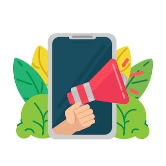 Marketing numérique pour site web. avis ou annonce, promotion d'un produit