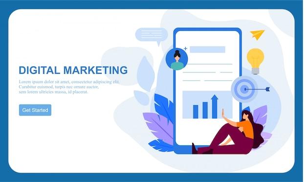 Marketing numérique smm, bannière plate de publicité en ligne d'influenceur