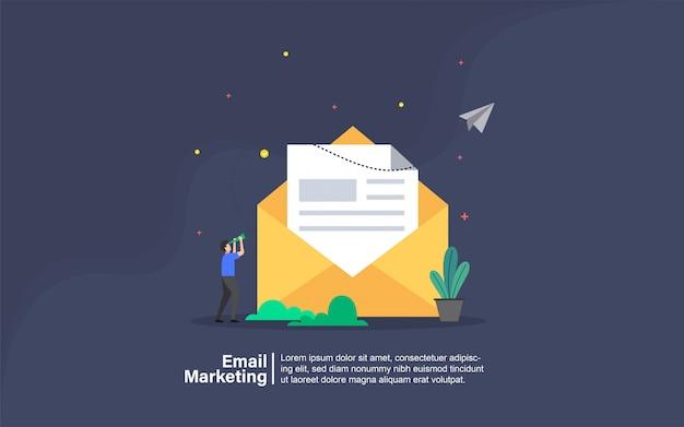 Marketing par courriel avec bannière de personnage
