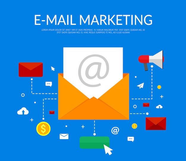 Marketing par courriel sur bleu avec enveloppe ouverte, lettre et icônes.