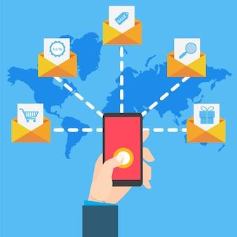 Marketing par courriel avec une main tenant un smartphone