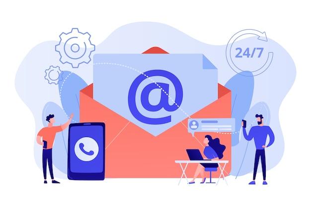 Marketing par e-mail, discussion sur internet, assistance 24 heures sur 24