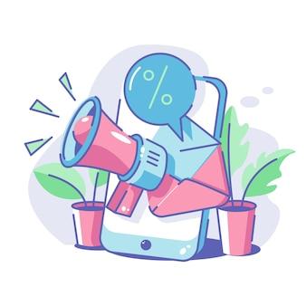Marketing par e-mail avec téléphone et mégaphone