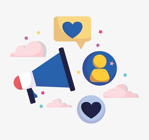 Marketing publicité mégaphone message personnes médias sociaux
