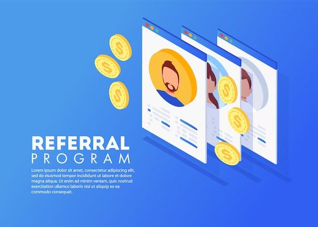 Marketing de référence isométrique, marketing de réseau, stratégie de programme de référence, parrainage d'amis, partenariat commercial, concept de marketing d'affiliation.