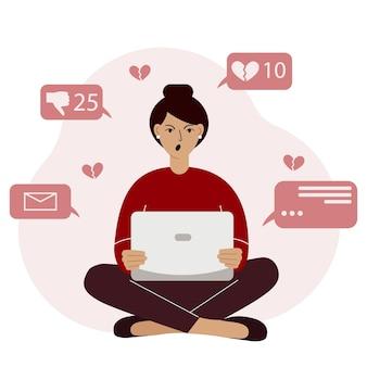 Marketing sur les réseaux sociaux et croissance de l'audience. illustration de concept de vecteur de femme en colère assise avec un ordinateur portable