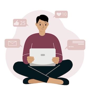 Marketing sur les réseaux sociaux et croissance de l'audience. illustration de concept de vecteur d'homme souriant assis avec un ordinateur portable