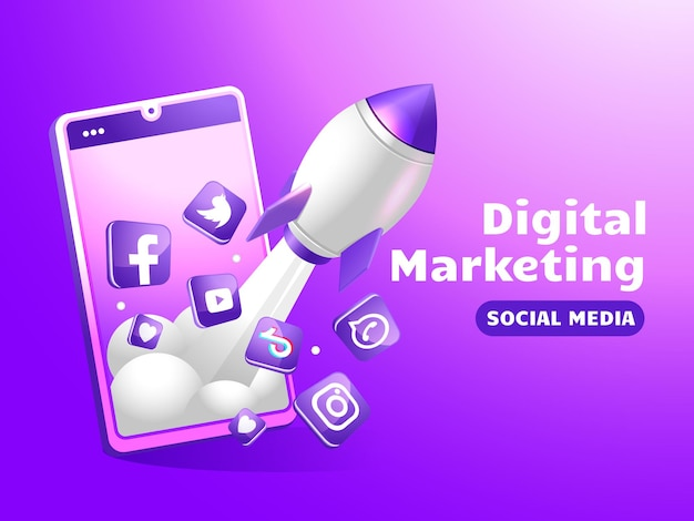 Marketing sur les réseaux sociaux avec smartphone et fusée boost