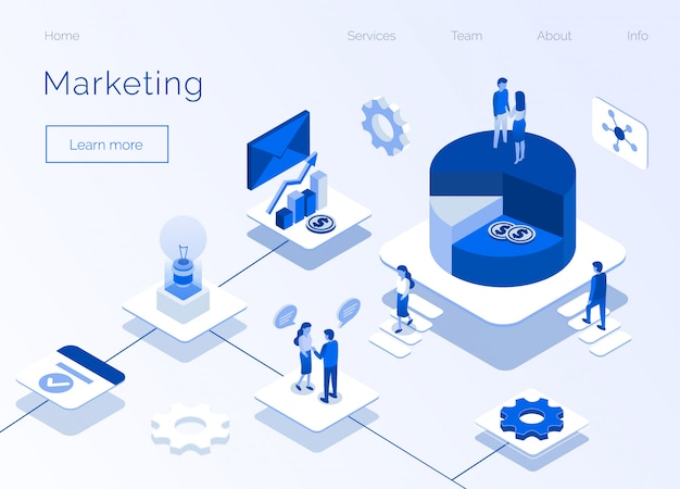 Marketing service business isometric page d'accueil