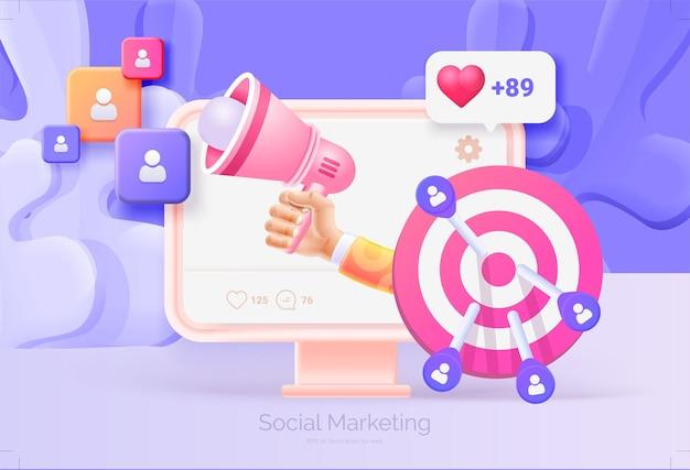 Marketing social numérique. ordinateur avec illustration 3d d'interface de réseau social