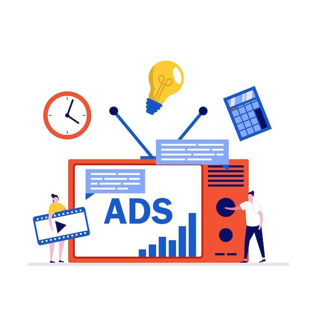Marketing tv, concept publicitaire avec caractère. nouvelles technologies publicitaires, segmentation d'audience.