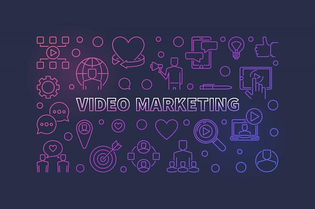 Marketing vidéo colful contour illustration horizontale