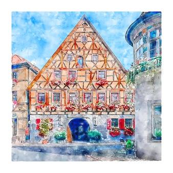 Marktbreit allemagne croquis aquarelle illustration dessinée à la main