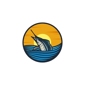 Marlin sur la mer, pour le concept de logo