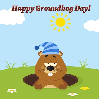 Marmotte avec chapeau endormi, émerger, de, a, trou