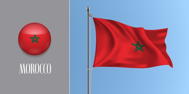 Maroc, agitant le drapeau sur mât et icône ronde illustration