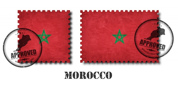 Maroc ou drapeau marocain modèle timbre-poste