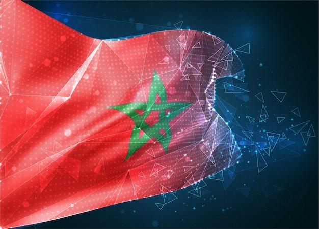 Maroc, drapeau vectoriel, objet 3d abstrait virtuel à partir de polygones triangulaires sur fond bleu
