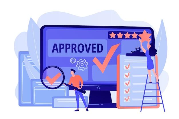 Marque d'approbation. avantage du produit. note et avis. répondre aux exigences