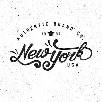 Marque authentique de new york. badge rétro, logo, emblème