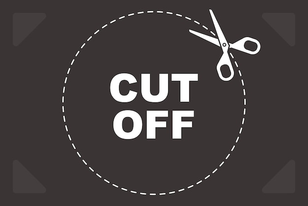 Marque de coupe pour ciseaux. ligne rouge pointillée. illustration vectorielle plane.
