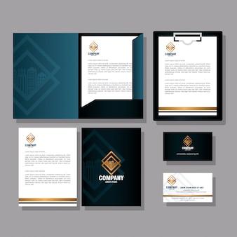Marque d'identité d'entreprise, définir la papeterie d'entreprise, signe noir et doré