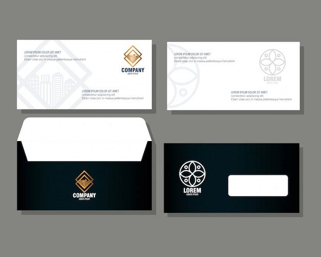 Marque d'identité d'entreprise, enveloppes et document noir avec signe blanc
