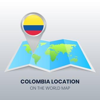 Marque de localisation de la colombie sur la carte du monde
