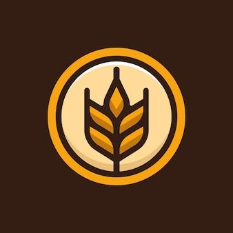 Marque de logo de blé naturel des aliments sains