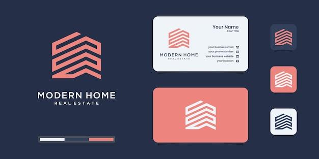 Marque De Mot Simple Construire Un Logo De Maison Avec Un Style D'art En Ligne. Résumé De La Construction De La Maison Pour L'inspiration Du Logo. Vecteur Premium