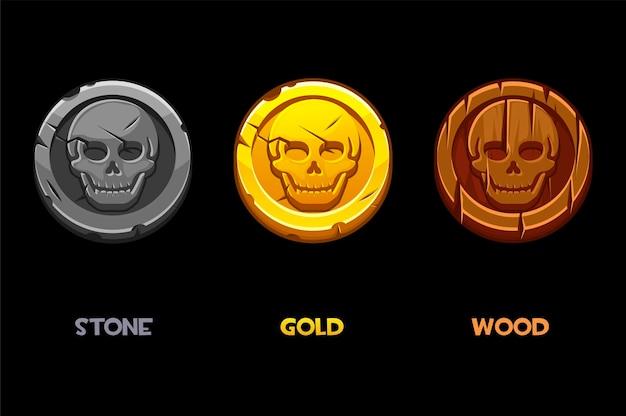 Marque noire de pirate, pièces d'or, de bois, de pierre avec un crâne.