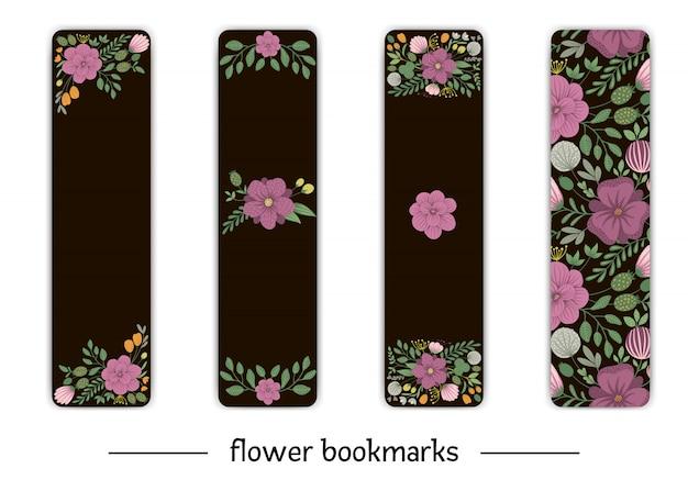 Marque-page de vecteur avec des éléments floraux. illustration à la mode plate avec des fleurs, des feuilles, des branches. prairie, forêt, clipart de forêt.