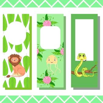 Marque-pages bébé avec des animaux mignons, graphiques vectoriels.